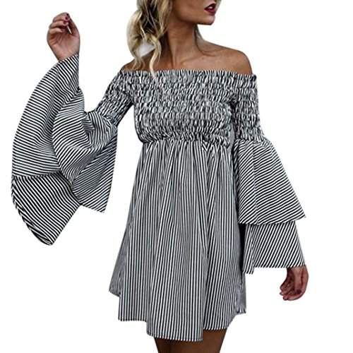 Mysky Women Clearance, Womens Sexy Holiday Off Shoulder Stripe Flared Sleeve Party Dress Long Sleeve Summer Dress (Black, (Flared Sleeves Mini Dress)