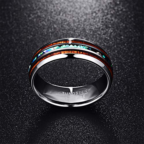QuaQui 8MM Polished Matte Abalone Shell Tungsten Carbide Ring 12.5 (Best Medicine For Ring Guard)