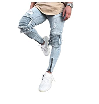 0f9f4f9c Men Jeans Daoroka Men's Ripped Slim Fit Straight Zipper Denim Pants Vintage  Style Motorcycle with Broken Holes at Amazon Men's Clothing store: