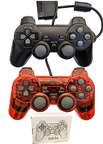 Saloke Wired Gaming Console for Ps2 Double Shock (Black1 and Clear Rad1)