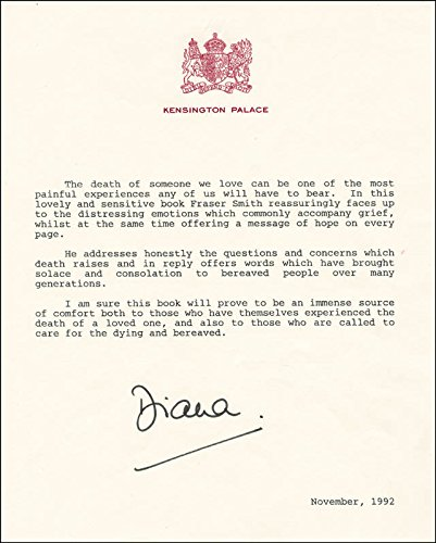 Princess Diana Of Wales (Great Britain) - Typescript Signed 11/1992