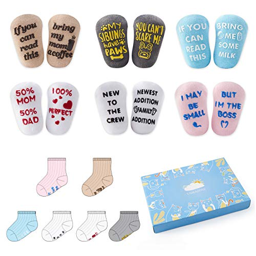 Baby Socks Gift Set Unique Quotes Anti-skid Toddler Socks Shower Presents for Newborn Boys and Girls 6 Pairs 0-12 Months