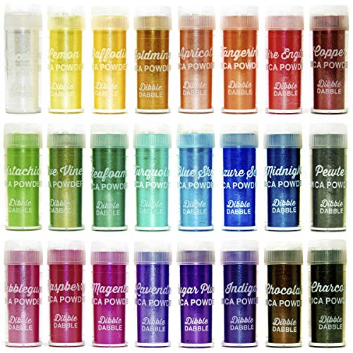 Mica Powder 24 Color Shake Jars - Huge 240g/8.47oz Set - Premium Cosmetic Grade Mica Pigment Powder for Epoxy Resin, Soap making, Slime, Bath Bombs, Polymer Clay, Tumblers, Makeup, Lip Gloss, Nail Art