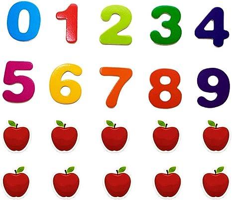 YeahiBaby 20 Piezas Imanes de Nevera de Madera de Número Manzana Juguete Matemáticas para Niños: Amazon.es: Juguetes y juegos