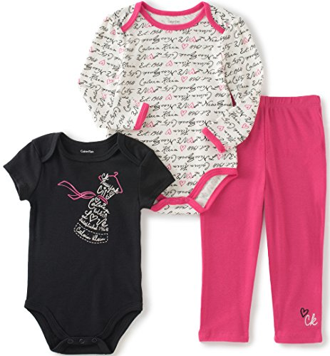 Calvin Klein Baby Girls' Long/Short Sleeve Creeper with Pants, Hot Pink, 18 Months