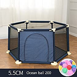 WSSF- Summer Deluxe Infant Play Playpens Kids Safety Fences Baby Crawling Mat Learning Walking Fence Portable Indoor Toddler Play Pens Area Playground Railing (Color : Blue, Size : 15066.5cm)