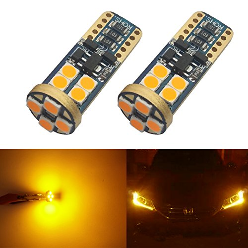 iBrightstar 9-30V Extremely Bright 3030 Chipset 168 175 194 2825 W5W T10 Wedge LED Bulbs for Side Marker Light,Amber Yellow