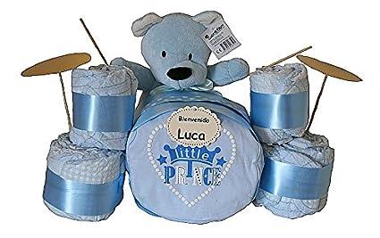 Batería de pañales azul - regalo original para bebé niño - regalo bebé - tarta de