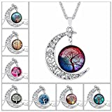 GERGER BO Women's Tree of Life Moon Hollow Carved Gemstone Necklace Sweater Chain