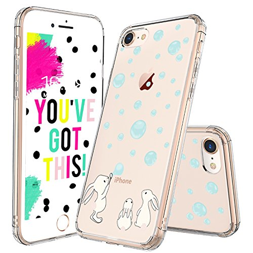 iPhone 7 Case, iPhone 8 Case, MOSNOVO Cute Bunny Rabbit Pattern Clear Design Printed Transparent Plastic Hard Back with TPU Bumper Protective Case Cover for Apple iPhone 7 (2016) / iPhone 8 (2017)