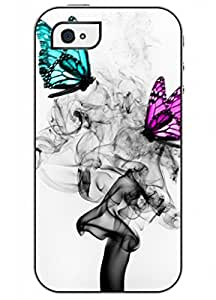 OUO Unique Fashion Design Snap on Iphone 4 4S 4G Hard Shell Case with Picture of Bright Color Butterfly