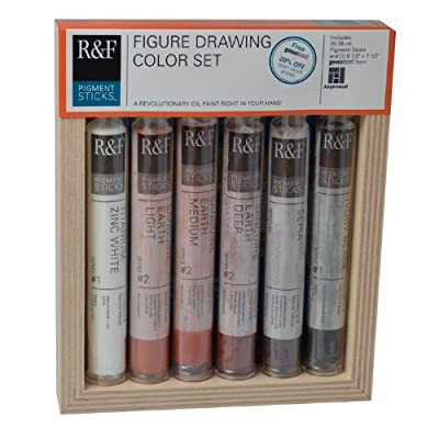 R&F Handmade Paints Pigment Sticks, Figure Drawing Colors, Set Of 6