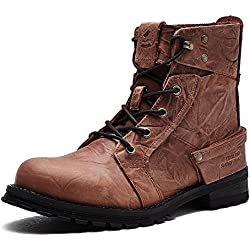Men's Boots High-Top Leather Lace-Up Simple Approach-hiking Mountaineering Outdoor Shoes Casual HXZ-ZS15168