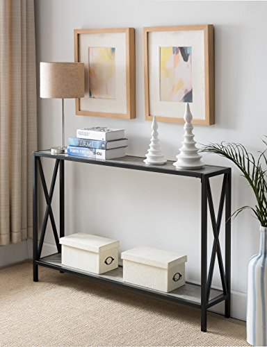 Metal Console Sofa Table (Cement / Black Metal Frame 2-tier Entryway Console Sofa Table with X-Design Sides)