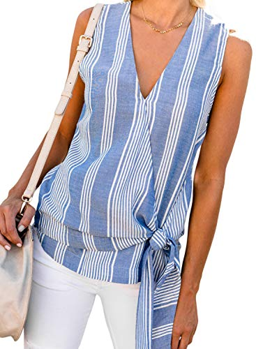 ZKESS Womens Sleeveless V Neck Wrap Tie Knot Front Tank Tops Summer Striped T-Shirt Blouses