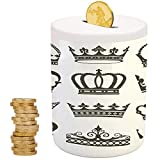 King,Ceramic Girl Bank,Printed Ceramic Coin Bank Money Box for Cash Saving,Symbol of Royalty Crowns Tiaras for Reign Noble Queen Prince Princess Cartoon Image Decorative