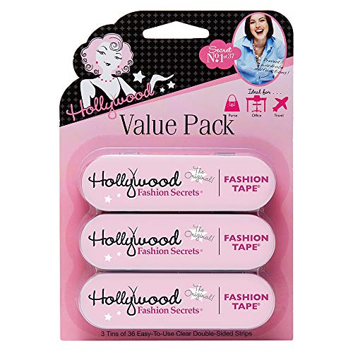Hollywood Fashion Secrets Medical Quality Double-Stick Apparel Tape, 3 tins x 36 strips Value Pack