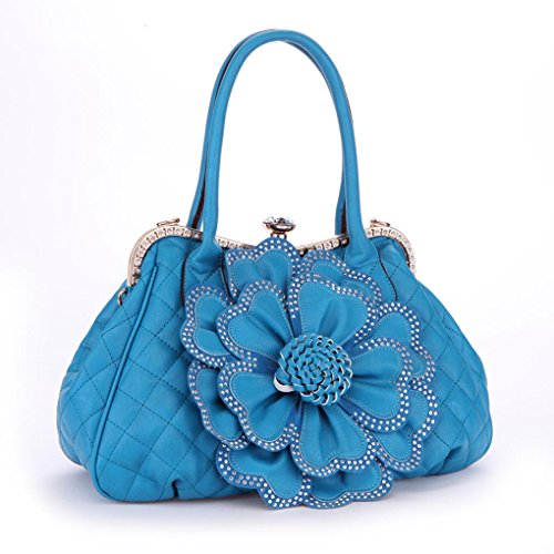 Kaxidy Women Girl Popular Fashion Pu Leather Flower Bags Shoulder Bag Handbag Tote Messenger Top-handle Bags (Blue)