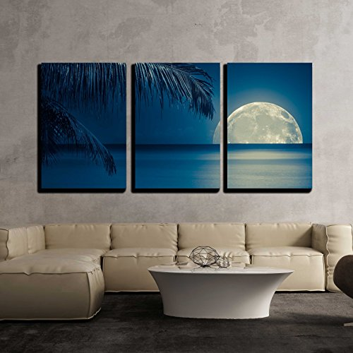 Beautiful Full Moon Reflected on The Calm Water of a Tropical Beach (Toned in Blue) x3 Panels