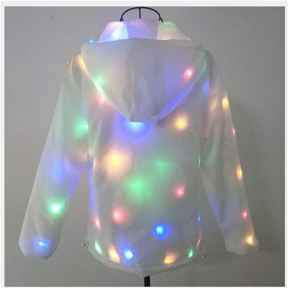 MEN/'S WOMEN LED LUMINOUS LIGHT UP COAT NIGHTCLUB PARTY HOODED JACKET OUTWEAR