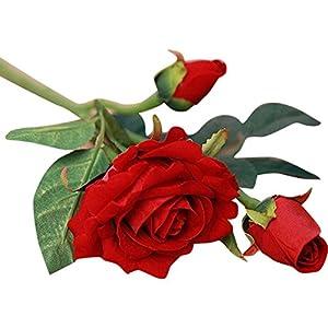 Artificial Rose Flowers ,Lavany 5 Bouquet 3 Heads Real Latex Touch Artificial Rose Flowers Leaf For Wedding Decoration Party Home Decor 50
