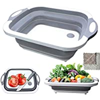 Foldable Cutting Board,Jiadinglimian Collapsible Multi-Function Silicone Washing Tub with Towel,Space Saving 3 in 1…