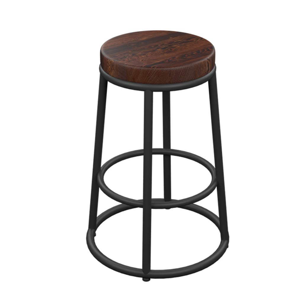 Solid wood bench Bar Stool High Stool Retro Bar Stool Home Kitchen Stool Chair Restaurant Cafe Counter Stool Black Metal Legs PU Solid Wood Seat (Sitting Height  65CM) Dining Chair (color   PU Bench)