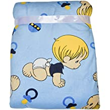 Precious Moments Super Soft and Warm Blue Baby Blanket Microplush, 30x40