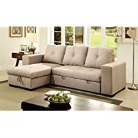 Furniture of America Covington Sectional in Ivory