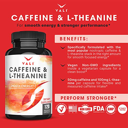 Caffeine 50mg & L-Theanine 100mg Pills for Smooth Energy, Focus, & Clarity - 120 Veggie Capsules. Natural Cognitive Performance Stack for Focused Mind & Body. Smart Low Dose Boost No Jitters No Crash