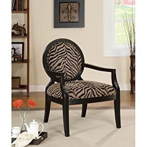 kitchen accent furniture amazon com coaster 900213 louis style accent chair with exposed wood arms zebra print kitchen 9826