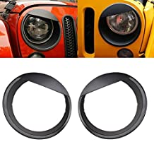 Black Bezels Front Light Headlight Angry Bird Style Trim Cover ABS For Jeep Wrangler Rubicon Sahara Jk 2007-2015