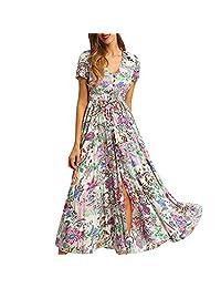 Pervobs Maxi Dress for Women Floral Boho Print Button Split Loose Flowy Dress Robe