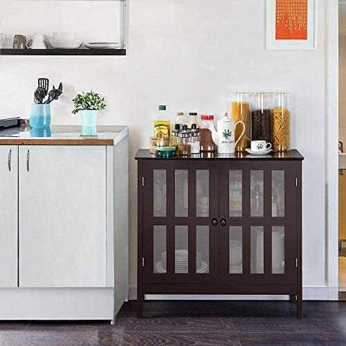 home, kitchen, furniture, accent furniture,  storage cabinets 8 discount Yaheetech Floor Storage Cabinet with Glass Door and deals