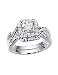 Newshe Woman 0.9ct Princess White AAA Cz 925 Sterling Silver Wedding Engagement Ring Set Size 5-10