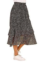 WDIRARA Falda de Mujer con Volantes en Capas y Cintura Alta