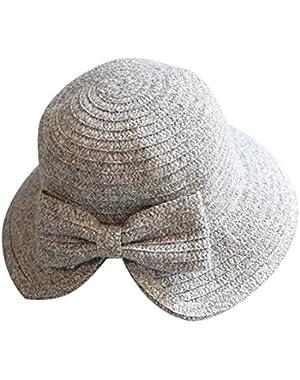 Women's Bowknot Bucket Hat Vintage Brimmed Knitted Elegant Winter Cloche Cap