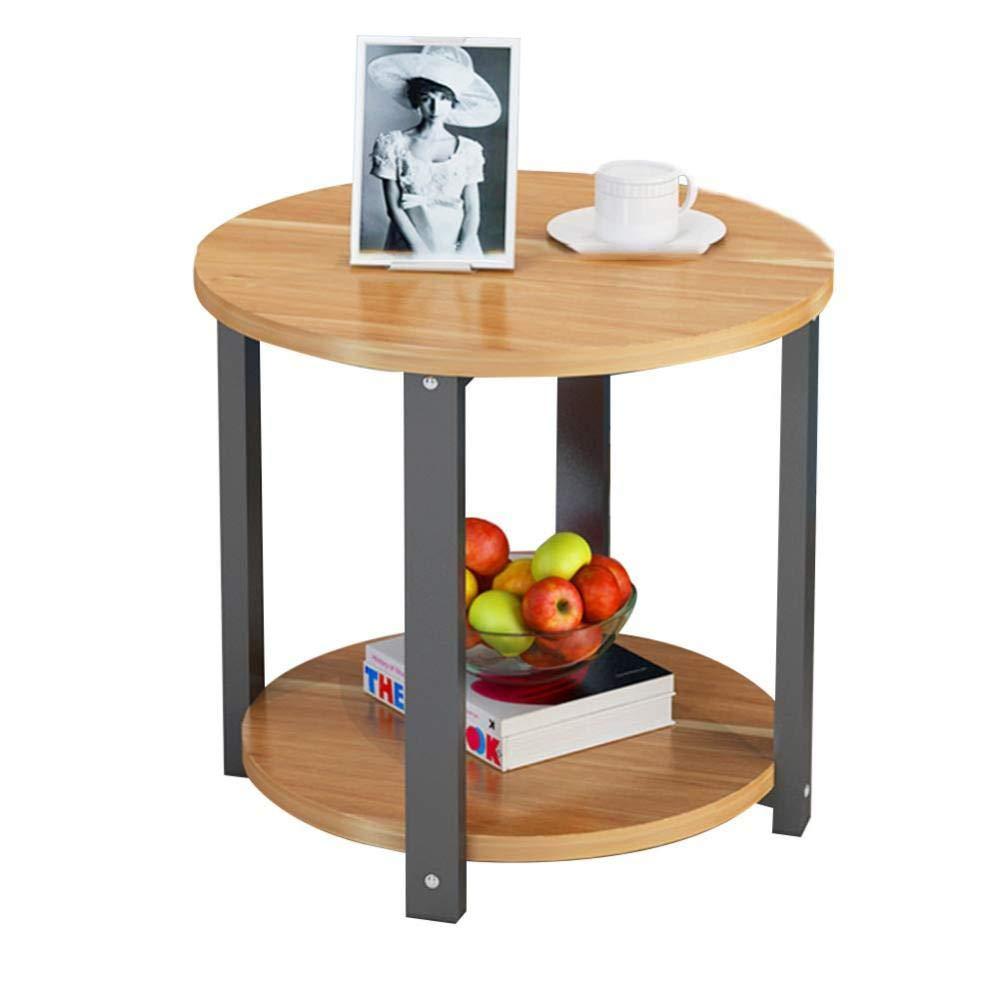 CZZ Semplice Tavolino Angolare, Tavolino in Legno, Tavolino Tondo, Adatto per Soggiorno con Divano Letto Lato Camera da Letto 2 Dimensioni,A,60  60  43cm