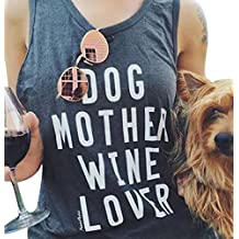 FAYALEQ Dog Mother Wine Lover Tank Tops Women's Casual Letter Sleeveless Camisole Shirt