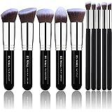 BS-MALL Makeup Brushes Premium Makeup Brush Set Synthetic Kabuki Makeup Brush Set Cosmetics Foundation Blending Blush Eyeliner Face Powder Lip Brush Makeup Brush Kit(10pcs, Silver Black)