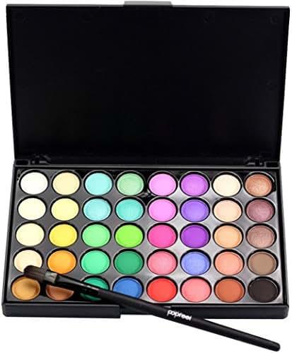 Eyeshadow, Auwer Cosmetic Matte Eyeshadow Cream Makeup Palette Shimmer Set 40 Color+ Brush Set Eyeshadow Palette Makeup Set Matt (B)