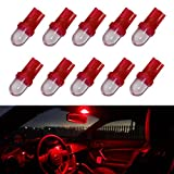 iJDMTOY (10) Brilliant Red Single-Emitter 1-LED 168 175 194 2825 W5W T10 LED Replacement Bulbs For Car Interior Lights, Map Lights, Dome Lights, Foot Area Lights, Trunk Area Lights, etc