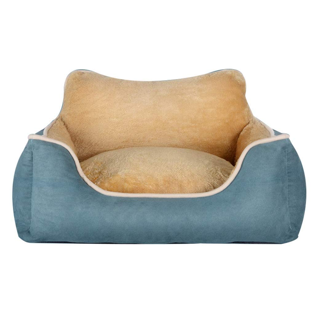 Blue M Desti Flakes Pet Bed Teddy Kennels Remable and Wasable Four Seasons Universal Pet Mat Large Meam Small Pet Pad Three Colors with Backrest (Colore: Blue, Size: M)