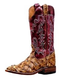 Boulet Western Boots Womens Exotic Stockman Fish Pirarucu Antique 6510