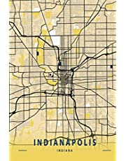 Indianapolis Indiana: 6x9 Lined Journal   Memory Book   Travel Journal   Diary To Record Your Thoughts   Graduation Gift   Teacher Gifts   Black and Yellow Map   For People Who Love To Travel   Indianapolis Indiana