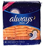 Always Maxi, Size 4, Overnight Pads With Wings, Unscented, 48 Count, Packaging May Vary
