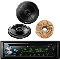 Pioneer DEH-X6900BT Car CD Player Receiver Bluetooth USB AUX Radio - Bundle Combo With 2x Pioneer TSG1645R 6.5 180W 3-Way Black Car Coaxial Audio Speakers + Enrock 50 Ft 18 Gauge Speaker Wire