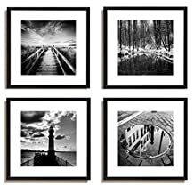 "4Pcs x Black and White Famous Building Motivational Office Picture Photo Wood Black Frame Glass + White Mat Wall Modern Art Girl Gift Coffee Room Hall Decoration 12x12"" (30x30cm) (109-112)"