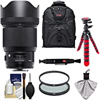 Sigma 85mm f/1.4 ART DG HSM Lens with Case + Tripod + Filters Kit for Sony Alpha E-Mount Cameras