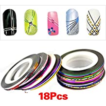 18 Rolls Nail Art UV Gel Tips Striping Tape Line Sticker Decoration